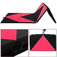 "Giantex 4'x10'x2"" Thick Folding Panel Gymnastics Mat Gym Fitness Exercise Pink/black"