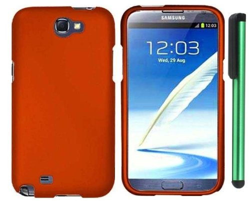 Best  Metallic Orange Design Protector Hard Cover Case for Samsung Galaxy Note II N7100 (AT&T, Verizon, T-Mobile, Sprint, U.S. Cellular) Android Smart Phone + Combination 1 of New Metal Stylus Touch Screen Pen (4