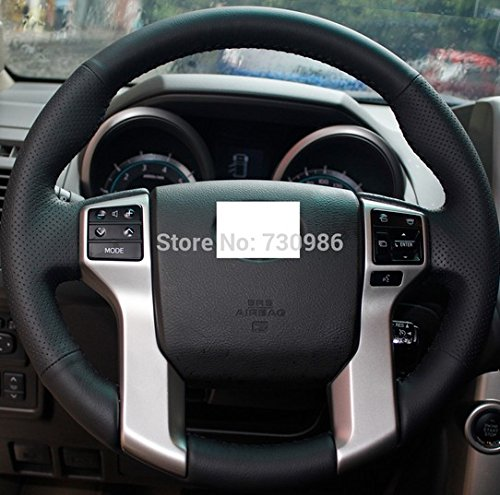 Hand Sewing Black Genuine Leather Steering Wheel Cover for 2012 2013 2014 2015 2016 Toyota Tacoma / 2014 2015 2016 Toyota Tundra / 2010 2011 2012 2013 2014 2015 2016 Toyota 4Runner / 2014 2015 2016 Toyota Sequoia (2013 Toyota Prado Accessories compare prices)