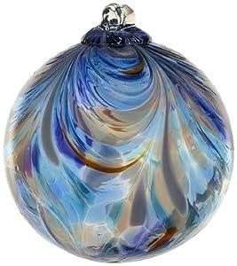 Kitras Art Glass Decorative Feather Ball, 6-Inch, Sapphire Sea