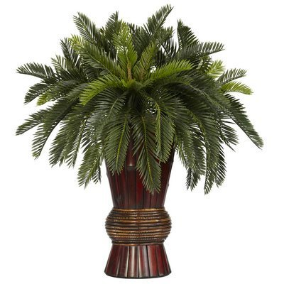 Cycas w/Bamboo Vase Silk Plant by Nearly Natural