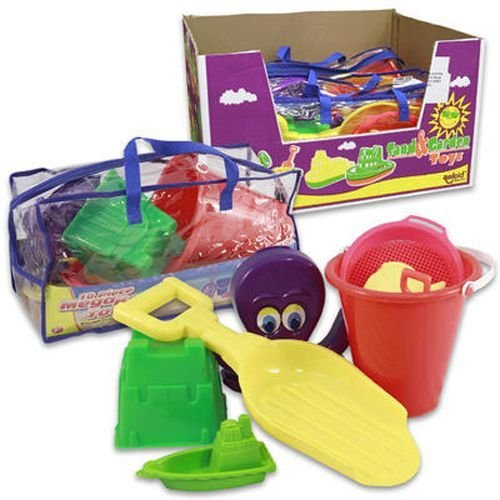 10 Pc Mega Beach Set with Plastic Carrying Tote Bag