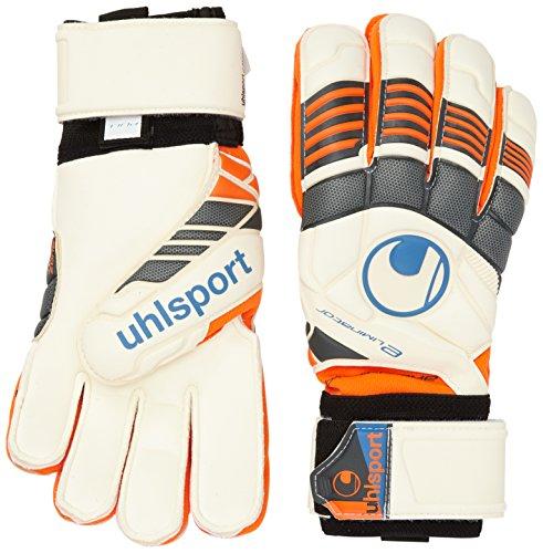 Uhlsport - Guanti da portiere per adulti Eliminator Supersoft Bionik, Bianco (Arancio fluo/bianco/nero), 8