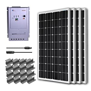 RENOGY® Premium Solar Panel Kit 400W Monocrystalline Off Grid: 4pc 100W Mono solar panel UL Listed+ 40A MPPT Charge Controller+ MC4 20ft Adapter Kit+ Mounting Z Brackets
