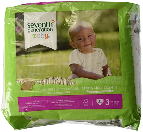 Seventh Generation Free & Clear Sensitive Skin Baby Diapers - Assorted (Solid or Print) - Size 3 - 31 ct - 1