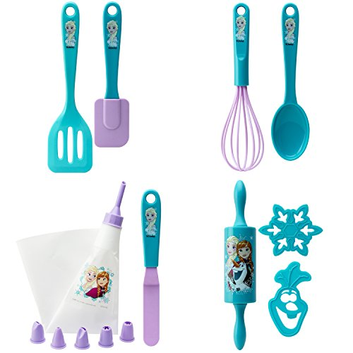 Zak Designs Disney Frozen 15 Piece Baking Set For Kids, Decorated