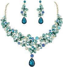 EVER FAITH® - Cristal Austriaco Mariposa Lágrimas Collar Pendientes Set