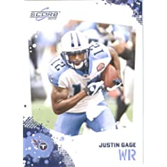 Justin Gage - Tennessee Titans - 2010 Score Football Card - NFL Trading Card in...