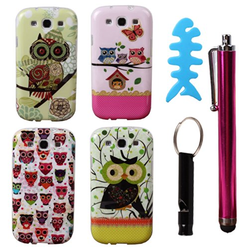 Teenitor(Tm)#S302 Pack Of 4 Pcs Cute Bling Owl Design Cartoon Animal Cases Slim Tpu Skin Cover Case For Samsung Galaxy S3 I9300 (With Stylu, Fish Earphone Cable Organizer And Whistle) Shipping From Usa