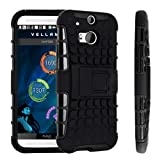 Magic Global Gadgets - Black Heavy Duty Armour Tough Shockproof Stand Hard Case Cover For HTC One M8 (2014) / All new HTC One M8 With Screen Guard, Cleaning Cloth & MGG Stylus