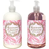 Rosewater & Jasmine Shea Butter Hand & Body Lotion And Rosewater & Jasmine Hand Soap Duo Set 16 Oz Each By Greenwich...