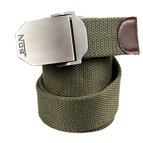 ALAIX Men's Military Style Tactical Cotton Weave Belt 1.5'' Wide Adjustable One Size With Antique Brass Buckle Many Colors B105 (Scout Belt compare prices)