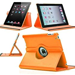 Leather 360 Degree Rotating Smart Stand Case Cover For New iPad 4 iPad 3 iPad 2 - Orange