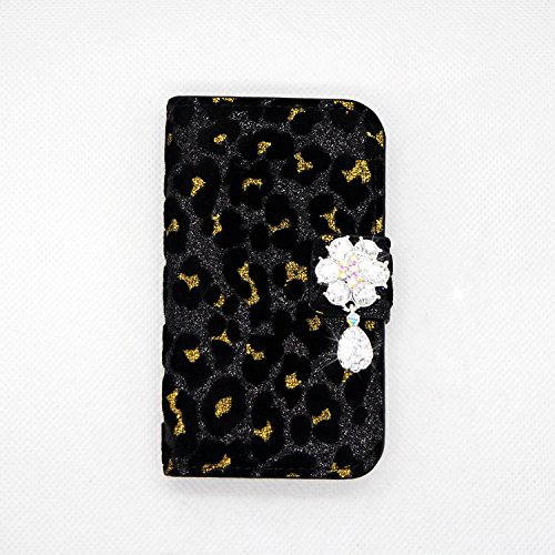 black Sexy Rhinestone Luxury Bling Crystal Diamond Rhinestone Luxury Bling Crystal Diamond Leopard Wallet Purse PU Leather Magnetic Flip Wallet Case Cover For Samsung GALAXY S BLAZE 4G T769