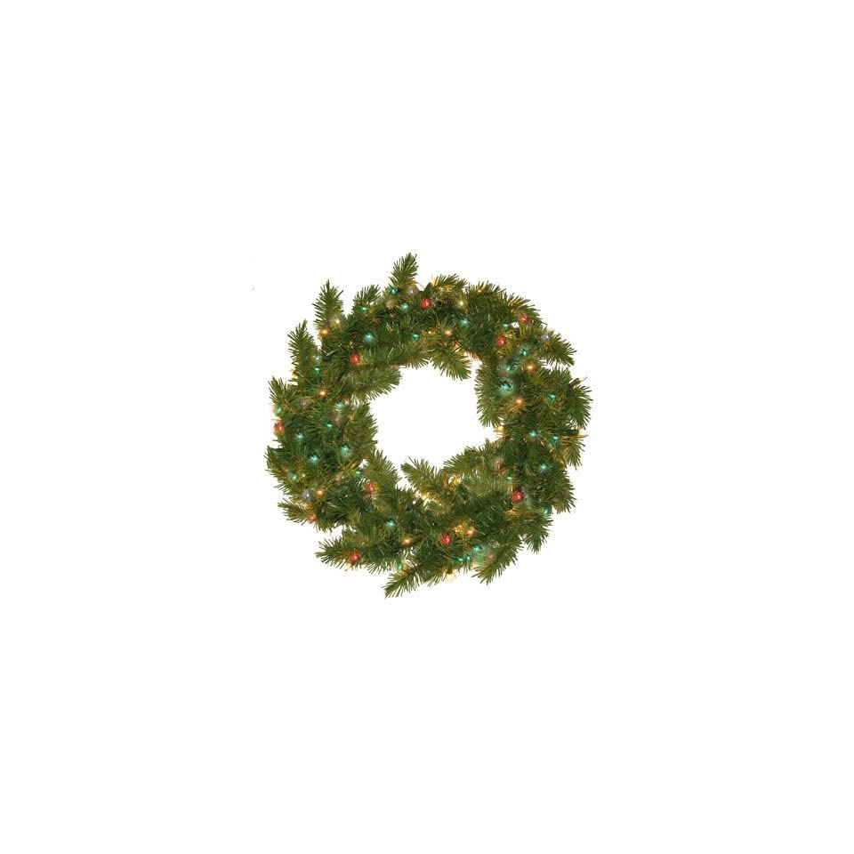 General Foam Plastics Prelit Evergreen Fir Wreath with 100 Multi Indoor/Outdoor Lights