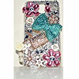 EVTECH(TM) Blue Bow Bowknot Silvery Imperial Crown Pink White Flowers Bling Clear Transparent Back Hard Protective Case Cover Skin Shell For Samsung Galaxy Note 3 N9000 N9002 N9005 N9006 N9008 (100% Handcrafted)