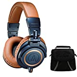 Audio-Technica ATH-M50X Blue Professional Headphones - LIMITED SPECIAL EDITION Deluxe Bundle