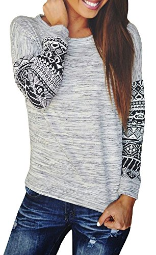 Baifern Women's Fashion New Long Sleeve Crew Neck Floral Print Slim Fall Blouse M Grey (Country Clothes compare prices)