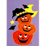 Trio of Happy Pumpkins Halloween Garden Flag  Appliqued Small 125 X 18 for Fall Autumn Porch House Yard Ba