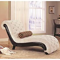Big Sale Coaster Chaise Lounge with Tufted Beige Fabric Black Wood Base