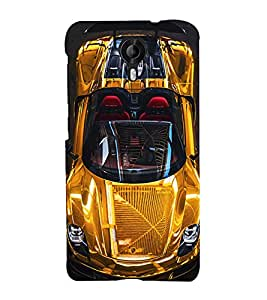 99Sublimation Golden Sports Car 3D Hard Polycarbonate Back Case Cover for Micromax Canvas Nitro 4G E455
