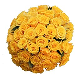 50 Farm Fresh Yellow Roses Bouquet By JustFreshRoses | Long Stem Fresh Yellow Rose Delivery | Farm Fresh Flowers