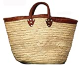 "Hand Woven Moroccan Straw Tote Bag w/ Brown Leather Handles & Trim 12""Lx5""Wx15""H"