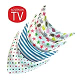 Premium Baby Bandana Bibs with Snaps- Pack of 4- Highly Absorbent Cloth Bib- Non Irritating Cotton and Fleece- Cute Patterns- Helps Feeding/ Teething/ Drooling/- Best Shower Gift for Boys and Girls