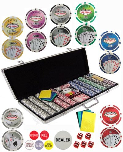 Bluff King 650 11.5 Gram Dual Pattern Clay Composite Gambling Poker Chip Chipset with Gaming Accessories.