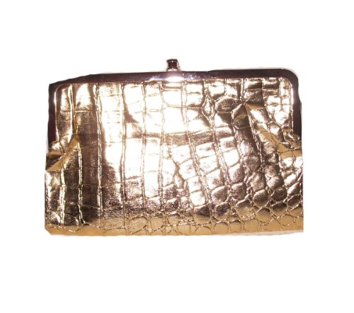 kiss lock clutch double frame wallet with glossy crocodile print choice of colors gold - Double Frame Clutch Wallet