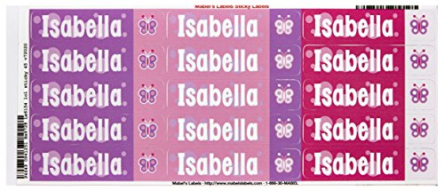 Mabel'S Labels 40845149 Peel And Stick Personalized Labels With The Name Isabella And Butterfly Icon, 45-Count front-594396