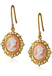 Sterling Silver Created White Sapphire and Pink Cameo Earrings