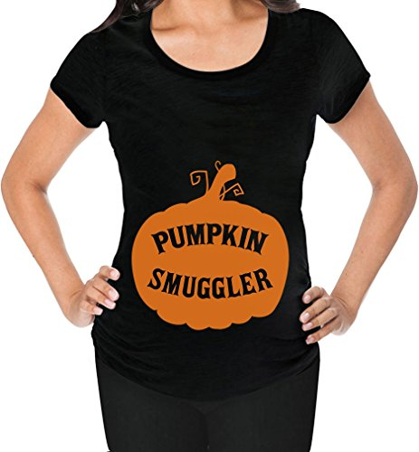 Pumpkin Smuggler Black Maternity Halloween Tee