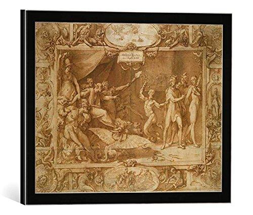 """Quadro con cornice: Federico Zuccari """"The Calumny of Apelles, 1572"""" - stampa artistica decorativa, cornice di alta qualità, 40x30 cm, nero / angolo grigio"""