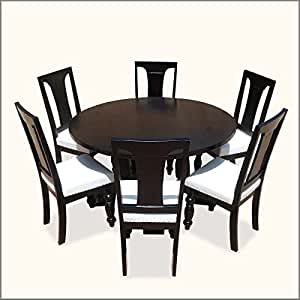black solid wood 54 inches cruciform base baluster round dining table
