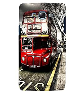 Omnam Red Double Decker Bus Printed Designer Back Cover Case For Samsung Galaxy J5