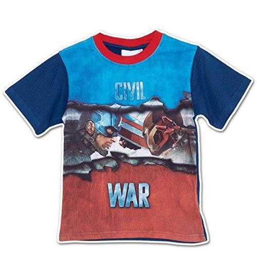 Marvel Captain America - T-shirt Maglietta - Civil War - Avengers - Novità Prodotto Originale CA50001 [Blu - 6 anni]