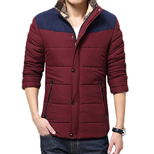 Botetrade Casual Warme Winter Mantel Herren Baumwollmantel Stehkragen Thermal Herren Daunenmantel Patchwork Winter Jacke XL Wine Red