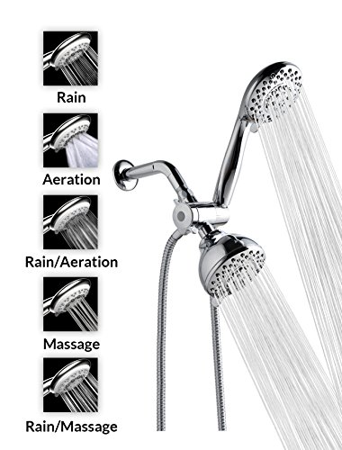 Best Prices! A-FlowTM 5 Function Luxury 4 Dual Shower Head System / Handheld Shower Head and Wall M...