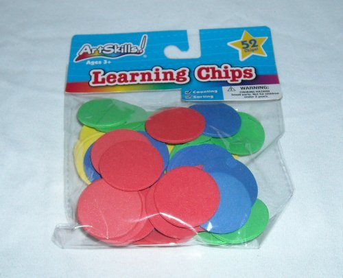 Art Skills! - Learning Chips - Foam, Different Colors, 52 Chips