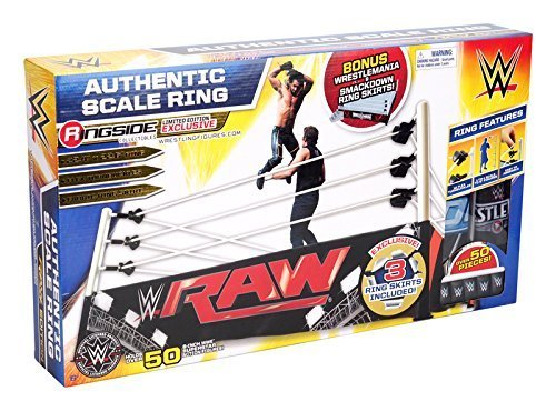new-wwe-authentic-scale-ring-w-three-ring-skirts-ringside-collectibles-exclusive-wicked-cool-toys-to