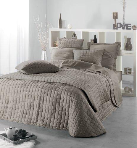 rockevo couvre lit venus taupe 2 housses coussin. Black Bedroom Furniture Sets. Home Design Ideas