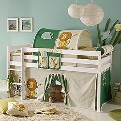 Hochbett Kiefer massiv weiß TÜV EN 747-1 + 747-2 Kinderbett Spielbett Jugendbett Massivbett Kinderzimmer Jugendzimmer Stockbett