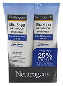 Neutrogena Ultra Sheer Spf#45 Lotion Twin Pack 3oz (3 Pack)