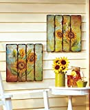 Set of 2 Wooden Tuscan Sunflowers Wall Art French Plaque Shabby Chic Countryside Decoration