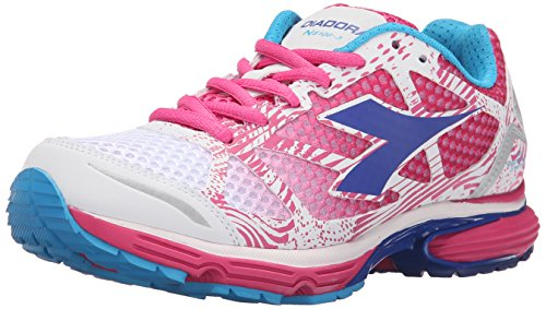 Diadora Women's N-6100-3 W Running Shoe, White/Shocking Pink, 6.5 M US