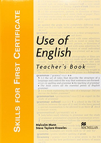 Use of English: Teacher's Book (Skills for First Certificate)
