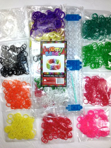 1200 Rainbow Color Loom Band Kit – Includes 25 S and 25 C Clips, Rainbow Loom Board, and 2 Hooks! 10 Beautiful Colors Conveniently Separated!