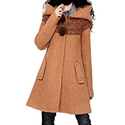 Artka Women\'s Rabbit Fur Cable Knitting Patchwork Thicken Wool Coat,Khaki,M