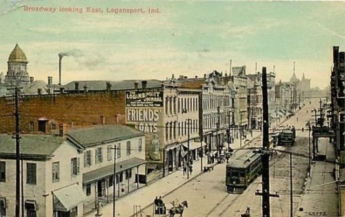 Broadway Looking East in Logansport, Indiana, 1912